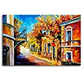 Tamatina Canvas Paintings - Down The Street - Leonid Afremov - Palette Knife Canvas Art - Modern Art Paintings - Paintings For Home Décor - Paintings For Drawing Room - Wall Paintings For Bedroom - Paintings For Living Room - Canvas Paintings For W