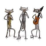 Hrlo Figurine Metal Pop Un Sassofono Che Suona La Chitarra Canta Cat Figurine D'arredamento Articoli Regalo Del Mestiere For La Decorazione Domestica (Color : Deep Blue)