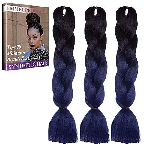 Jumbo Braids-Premium Quality 100% Kanekalon Braiding Hair Extension Full Bundles 100g / pc Synthetic Hair Ombre 24 Inch 3Pcs / lot Résistant à la chaleur, Longue durée à l