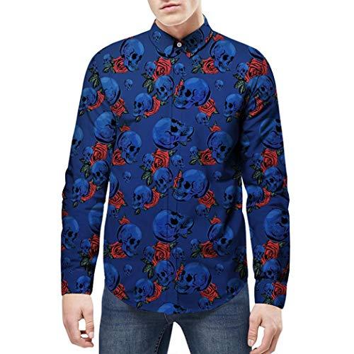 WWricotta Camisa Formales Negocio para Hombre Camisetas de Manga Larga Estampado Calaveras Casual Remeras Streetwear