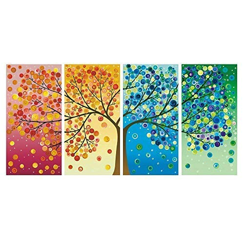 Karen Max Giclée-Druck Modulares Wandbild 4-teilig schöne Bunte Vier Jahreszeiten Baum Gemälde Wand Kunst Modular Leinwand Bilder Size 1:12x16inchx2,12x24inchx2,12x32inchx1 Frame