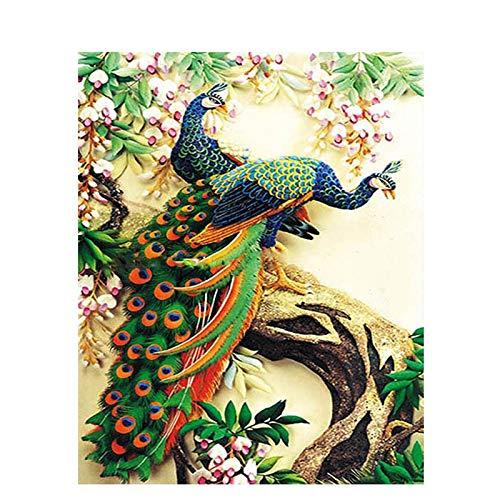 erei,Frisches Schönes Blaues Pfau-Tier,Ölfarbe-Malen Nach Zahlen DIY-Bild-Zeichnungs-Färbung Auf Segeltuch-Malen Von Hand Wand-Farbe Durch Zahl,16X20 Zoll DIY-Rahmen ()