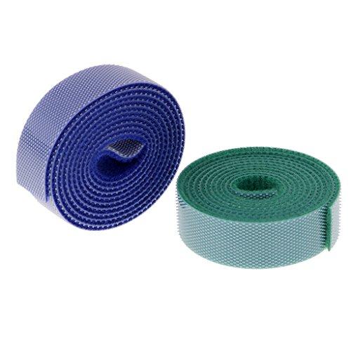 perfk 2 Rolle Klett Kabelbinder Klettkabelbinder Klettband 15mm Klettverschluss Band Klebepad für Kabel frei zuschneidbar - Mehrfarbe 15mm (2 Klett-rollen)
