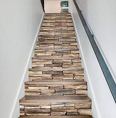 Treppenaufkleber 3D Sticker Sticker Steinmuster Abnehmbare Step Sticker Boden Wandhalterung Sticker Sticker Home Decor (100 * 18cm)*13pcs