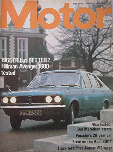 Motor magazine 19/1/1974 featuring Hillman Avenger road test