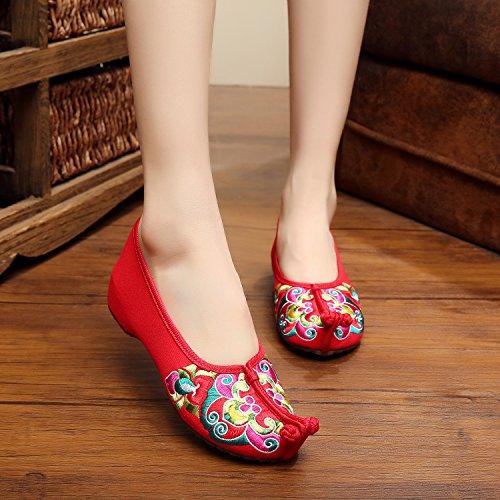 ZQ Bestickte Schuhe, Sehnensohle, ethnischer Stil, Femaleshoes, Mode, bequem , yellow , 36