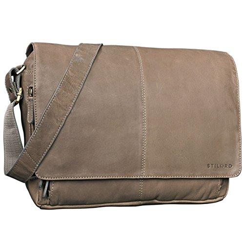 STILORD \'Alex\' Vintage Ledertasche Männer Frauen Businesstasche zum Umhängen 15,6 Zoll Laptoptasche Aktentasche Unitasche Umhängetasche Leder, Farbe:grau - braun