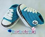 Patucos para Bebé, tipo Converse, 3-6 meses Azul Turquesa. Hecho a Mano. Crochet. España