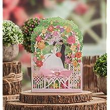 VStoy 3d novia y Esposo diseño verde color corte láser invitaciones de boda tarjetas novia ducha invitaciones tarjetas de felicitación (20pcs)