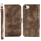 BoxTii Coque iPhone 7 / iPhone 8, Coque en Cuir Crocodile Motif, Housse Magnetique avec Lanière et Gratuit Protection D'écran en Verre Trempé pour Apple iPhone 7 / iPhone 8 (Brun)