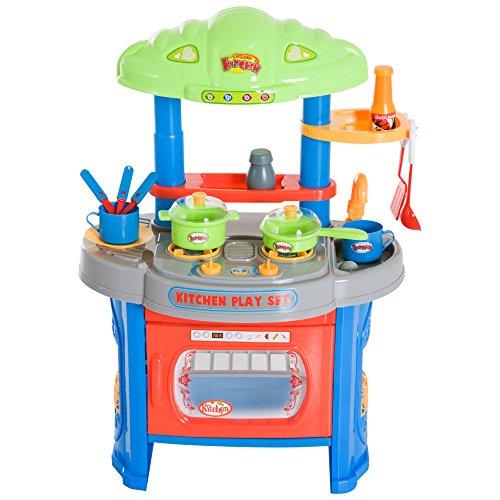 Homcom Cocina de Juguete Cocinita con Luz Sonido y 12 Accesorios Juego para Cocinar para Niños +3 Años 46x30x67cm PP
