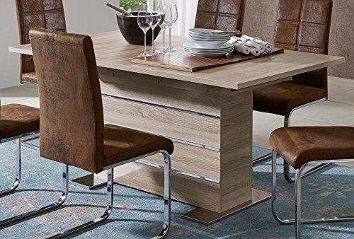 SAM® Esszimmer Tisch Mantova aus Sonomaeiche Auszugstisch in Eiche robustes Holz natürliche Maserung 160 - 200 x 90 cm Chrom Applikationen, verchromte Metallfüße, Synchronauszug mit Innenkasten