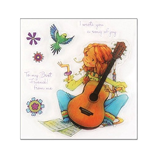 Pinzhi Klare Mädchen Spielen der Gitarre Briefmarken & Stanzformen Scrapbook Decor Papierkarte Schablone Handwerk Heißer X1 Heiße Mädchen Spielen Karten