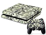 PlayStation 4 Designfolie Sticker Skin Set für Konsole + 2 Controller – Cash Money Dollar