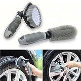 LITZEE Auto Waschbürste Felgenbürste, 2PCS Reinigungsbürsten Rad und Reifen Auto, Motorrad, Fahrrad