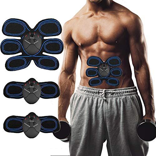 Moonssy Elettrostimolatore per Addominali Elettrostimolatore Muscolare EMS Stimolatore Muscolare Addominali Trainer ABS Stimulator 6 modalità e 10 Livelli di Intensità Addominali
