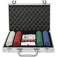 Global Gizmos Poker Set chips dados tarjetas en caso de aluminio (200 unidades)