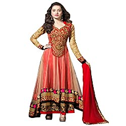 Maxthon FashionWomen's Red Net Embroidery Anarkali Unstitched Free Size XXL Salwar Suit Dress Material (Women's Indian Clothing 2075 )