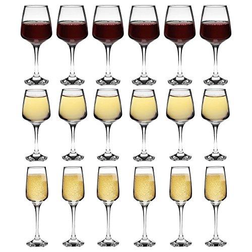 Tallo - Verres à champagne/vin rouge/vin blanc - lot de 18 - 400 ml/295 ml/230 ml