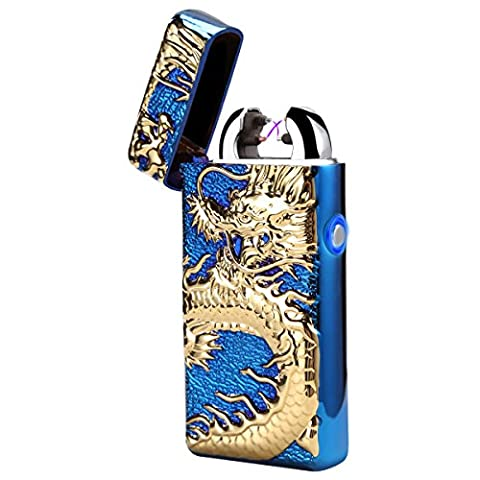 Padcod Updated Arc Lighter Rechargeable USB Electronic Lighters Dual Arc Beam Cigarette Lighter Cigar Lighter No Gas Flameless Windproof Relief Chinese Dragon Lighter (Blue)