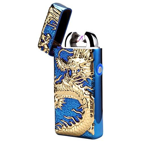 Jukkarri USB Briquet électronique rechargeable Dual Arc de lumière sans flamme avec Portable dragon (Bleu)