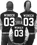 Partnerlook College Jacke mit WUNSCHNAME & WUNSCHNUMMER INDIVIDUALISIERBAR – Jacke für Pärchen, Familie & Freunde zu