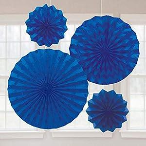 Amscan International-295000-105Bright Royal azul ventiladores de papel con purpurina