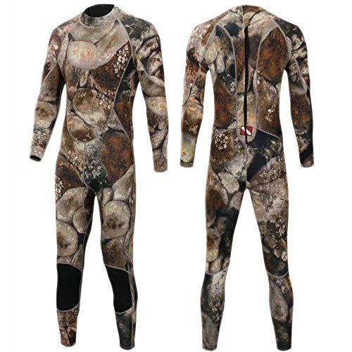 KIBILLL Camouflage 3mm Tauchanzug warme Winterschwimmen verbunden langärmeligen Badeanzug verdickende männliche Qualle Kleidung (Farbe : Camouflage, Size : XL)
