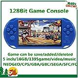CZT 5 Zoll Schirm 16GB 128Bit Retro- Videospiel-Konsole Built-in 1395 Spiele für Arcade NEOGEO/CPS/FC/NES/SFC/SNES/GB/GBC/GBA/SMC/SMD/SEGA Handspielkonsole MP3/4 (Blue)