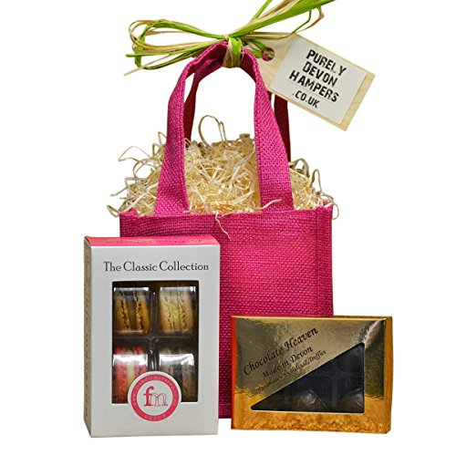 Purely Devon Hampers - Macarons and Chocolate (raspberry jute bag) Gift For Her
