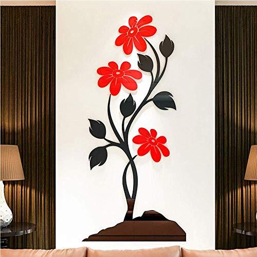Blume Wandtattoo 3D Diy Aufkleber Wohnzimmer Schlafzimmer Vinyl Abnehmbare Wasserdichte Aufkleber