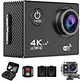 Action Camera,4K WiFi Ultra HD Waterproof Sport Camera 2 '' LCD Screen 16MP 170 Degree Wide Angle With SONY Sensor Rechargeable Battery And Portable Package