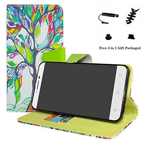 LFDZ Alcatel A3 XL Hülle, [Standfunktion] [Kartenfächern] PU-Leder Schutzhülle Brieftasche Handyhülle für Alcatel A3 XL Smartphone (mit 4in1 Geschenk Verpackt),Love Tree