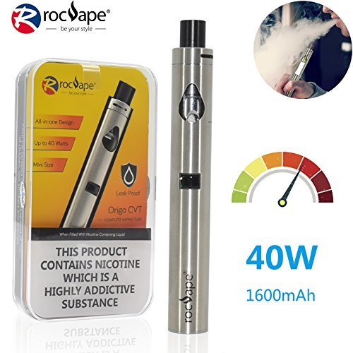 Rocvape Origo CVT Electronic Cigarette 40w Vape Pen New Gen All in One eGo AIO Vaporizer Starter Kit Big Cloud Vaping Vapor Kit 1600mAh Battery - No Nicotine