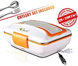 VOVOIR Auto Elektrische Heizung Lunchbox Wärmer 12V/220V 2 in 1 Tragbare Elektrische Thermal Lunch Box Heizbehälter 3 Fächer mit Gabel und Löffel für Zuhause Erwachsene & Kinder (Orange)
