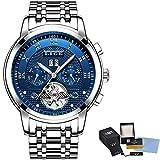Watch-LUTEM Herren Armbanduhren Männer Automatic Mechanical Uhren Luxuriöse Wasserdichte Uhr mit Edelstahlarmband, Datums- und Kalenderanzeige
