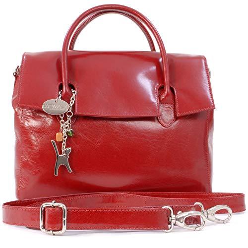 Catwalk Collection Handbags - Leder - Organizer/Handtasche mit Schultergurt - iPad/Tablet - Vintage Leder - Handtasche mit Schultergurt -ELLA - Rot -