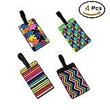 Eqlef® set di 4lovely Secure etichette PVC valigia etichette per il bagaglio porta biglietti/Travel ID bag tag