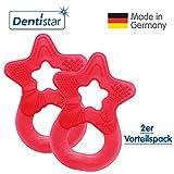 Dentistar® Beißring im 2er-Set - Stern - Zahnungshilfe für Babys ab 3 Monate - Kühlbeißring Baby aus TPE - Made in Germany – Rot