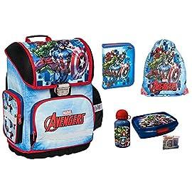 Avengers-Marvel-Schulranzen-fr-Jungen-1-Klasse-6-TLG-inkl-Federmppchen-Lunch-Set-Sportbeutel-Regenschutz-Tornister-super-leicht-ergonomisch-und-Anatomisch-inkl-Sticker-Avengers