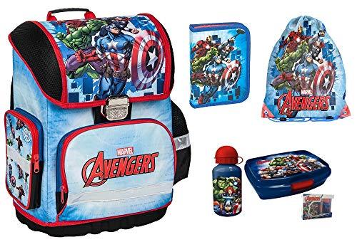 Avengers Marvel Schulranzen für Jungen 1 Klasse 6 TLG. inkl. Federmäppchen, Lunch Set, Sportbeutel, Regenschutz   Tornister super leicht   ergonomisch und Anatomisch   inkl. Sticker Avengers