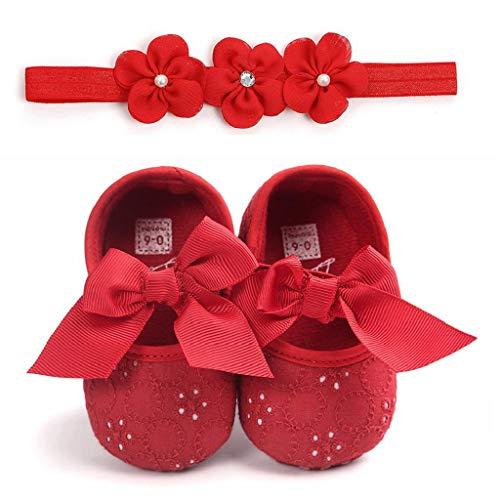 Zapatos Bebé Niña+Diademas SHOBDW Suela Suave Antideslizante Zapatillas Linda Linda Flor Encantadora...