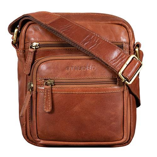 Stilord 'fabian' borsa uomo tracolla in pelle elegante borsetta messenger piccola cross body per ufficio lavoro viaggio stile vintage, colore:cognac lucente