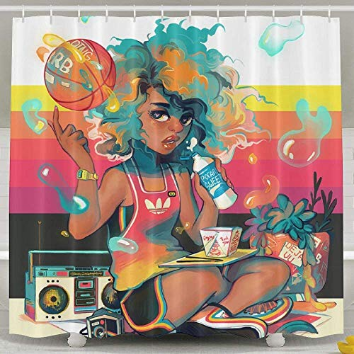 AORSTAR Duschvorhang d¨¦COR Resistant White Shower Curtains - Swag Hip-Hop African American Black Women Painting Bath Curtain Liner 182 x 182 cm (72 x 72 Inch) -