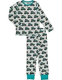9fec9f44ed MAXOMORRA Jungen Pyjama Langarm Weiß Auto Veteran Schlafanzug Gots  BioBaumwolle