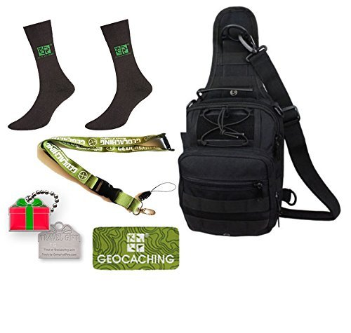 Geocaching Set regalo da 5 pezzi Geocaching zaino, Set Grounds Peak calzini, Lanyard, Travelbug Traveltag Patch Natale