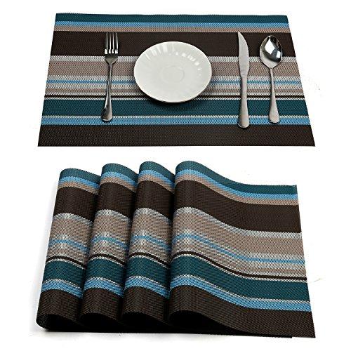 Pauwer Platzsets Set von 6 Gewebt Vinyl Rutschfest Waschbar Platzdeckchen Hitzebeständig Tischsets für Küche Speisetisch (Blau)
