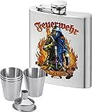 Trendagentur KEPPLINGER Flachmann Taschenflachmann Taschenflasche bedruckt anstelle Gravur - Der Flachmann für den Feuerwehrmann und wahren Helden - mit hochwertigem Aufdruck Feuerwehr - Real Heros