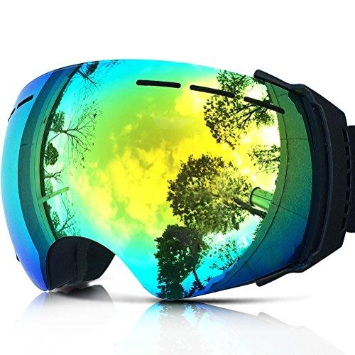 Zionor iski 3x professionale snowmobile snowboard skate occhiali da sci con obiettivo staccabile grandangolare e lente antinebbia big sferica unisex adult maschere da sci (nero)