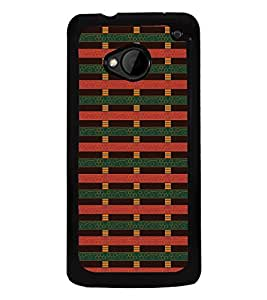 Fuson Premium 2D Back Case Cover Red pattern With black Background Degined For HTC One M7::HTC M7